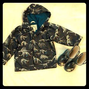 Hatley Dinosaur bones Rain Coat 3 Boots Size 7 Set